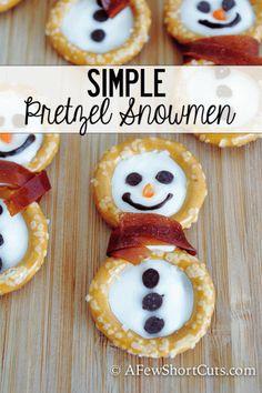 Super cute Simple Pretzel Snowmen Snack!