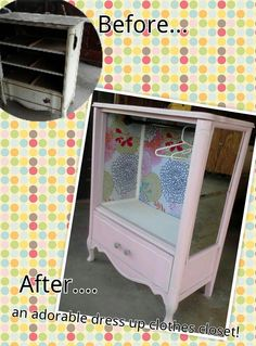 Old dresser redone to create a dress up clothes closet suitable for any princess <3 www.thevintagebutterflyonline.com