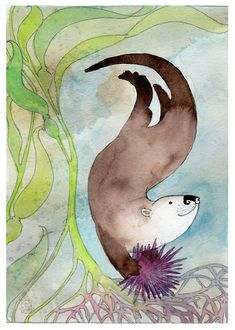 Sea Otter Otter illustration by Dancingheron on Etsy Baby Otters, Baby Sloth, Otter Love, Family Drawing, Beautiful Dark Art, Ocean Art, Cute Animals, Baby Animals, Baby Giraffes