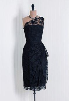 Gorgeous black lace cocktail dress circa 1950