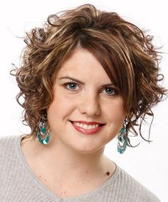 Medium curly hairstyles with side bangs for fat women