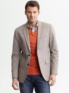 Banana Republic | Tailored taupe cotton two-button blazer