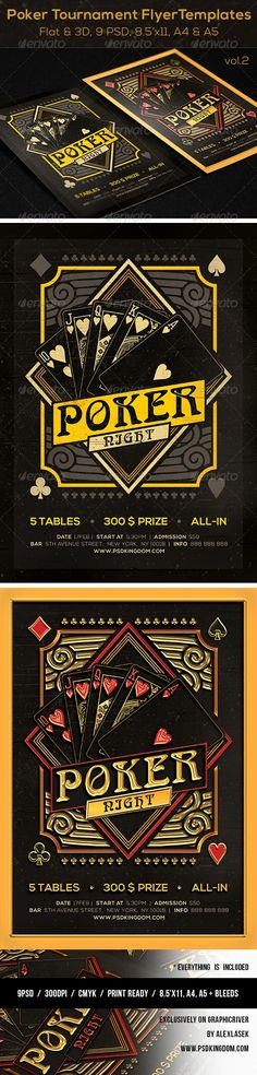 Template Description: • Flyer design is clean • The template suits perfectly for Poker, Blackjack Tournament, Party or Event • This looks appealing online and printed • Print Ready – It can also be saved to RGB format that is for online advertisement purpose