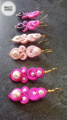Soutache pendientes pendientes hechos a mano pendientes Soutache Necklace, Tassel Earrings, Quilling Jewelry, Hand Chain, Button Crafts, Hippie Chic, Beaded Embroidery, Boho Jewelry, Earrings Handmade