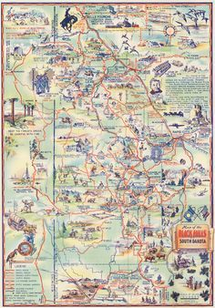 1940 Map of the Black Hills of South Dakota the Sunshine State