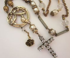 SOLD Religious Cross Vintage Assemblage Necklace - Pearl, Rhinestone and vintage watch fob chain by jryendesigns.etsy.com