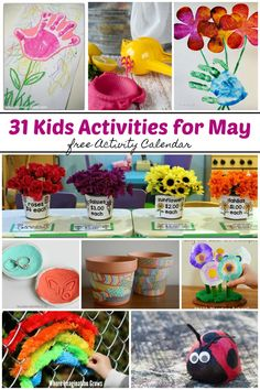 31 Kids Activities for May! Art, crafts, learning activities and more! Simple but fun activities including spring and Mother's Day themed activities to keep your toddlers and preschoolers busy all month! crafts for kids Summer Preschool Activities, Mother's Day Activities, Indoor Activities For Kids, Toddler Activities, Preschool Curriculum, Holiday Activities, Spring Crafts For Kids, Art For Kids, Mother's Day Theme