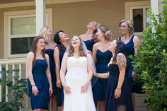 Funny picture to take with the bridal party prior to the wedding. Rustic Blue, Rustic Chic, Diy Outdoor Weddings, Navy Blue Bridesmaid Dresses, Alternative Wedding, Blue Wedding, Perfect Wedding, Real Weddings, Wedding Photography