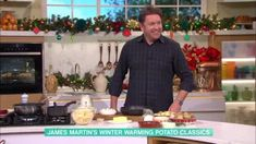 James Martin's potato Dauphinoise and tartiflette   This Morning Potatoes Dauphinoise, Full Fat Milk, James Martin, Dry White Wine, The Dish, Tasty Dishes, Tray Bakes, Bacon