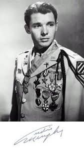Audie Murphy, June 1924 - May 1971, was the most decorated American soldier of world war 2. During twenty-seven months in action in the European Theatre he received the Medal of Honor, the U.S. military's highest award for valor, along with 32 additional U.S. and foreign awards (medals, ribbons, citations, badges) including five awards from France and one from Belgium. After the war he became a celebrated movie star for over two decades.