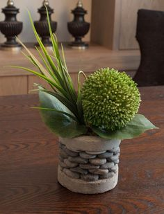 Allium with Vanilla Grass in a Pebble Stone Vase | RTfact | Artificial Silk Flowers