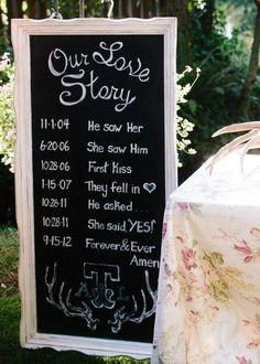 """Cute wedding idea. """"Our Love Story"""" written on a chalkboard"""
