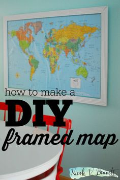 If you've been to our house or seen any photos taken around our table, you've seen our map. It's the centerpiece of our dining area, a great conversatio Framed World Map, Framed Maps, Wall Art Crafts, Diy Wall Art, Diy Canopy, Map Globe, Diy Frame, Map Art, Kids Playing