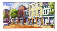 Busy but Walkable Mixed Use Downtown Concept | TPUDC | Town Planning & Urban Design Collaborative