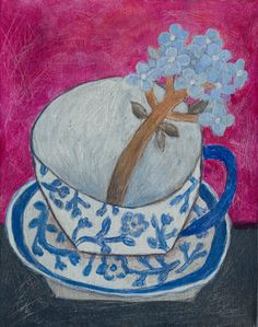 hydrangea in a cup, contemporary style acrylic on small canvas by Soojung Cho