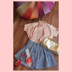 """Cotton candy dreamz  #1950s pink satin blouse with #rhinestone buttons - sz. L - $30 // #90s navy blue striped shorts - sz. S 26"""" waist - $26 // #50s flower #mules - sz. 7 - $22 // #60s #gold cocktail purse - $36// #vintage #rainbow umbrella - $32 as is // comment or DM to purchase // #instasale #ootd #vootd #vintagestyle #vintageootd #1990s #1960s #1950s #60sstyle #springtime #luckydrygoods"""