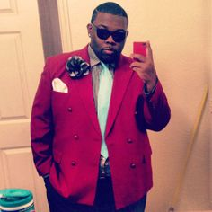 Reader Paw Paw shares what he wore to the Delta Sigma Theta Crimson and Cream Ball at Bethune-Cookman University. Mens Plus Size Fashion, Tall Men Fashion, Fat Fashion, Teen Boy Fashion, Look Fashion, Fashion Photo, Winter Fashion, Big And Tall Style, Mens Big And Tall