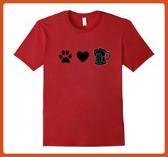d03d0449 Mens Paw Print Heat Beer Mug funny Shirt tshirt dog paw Medium Cranberry -  Food and