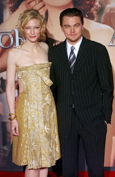 """Leonardo DiCaprio with Cate Blanchett at the 2005 premiere of """"The Aviator"""" in Rome"""