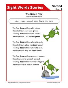 This Reading Comprehension Worksheet - The Green Frog is for teaching reading…