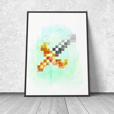 Sword, Legend of Zelda, giclee art print, video games decor, retro gaming, 8 bit, pixel art, wall decor by RNDMS on Etsy https://www.etsy.com/listing/217822023/sword-legend-of-zelda-giclee-art-print