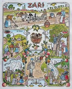 Josef Lada Josef Lada Hrusice - Prague) was a Czech painter, illustrator and writer.Illustration for the calendar, seasons-August. Naive Art, Autumn Activities, Illustrations, Four Seasons, Folk Art, Needlework, Fairy Tales, How To Draw Hands, Retro