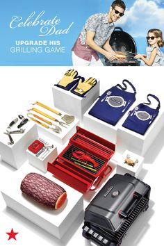 There's nothing like a new set of grilling gloves, utensils and aprons for the dad who loves to barbeque. Visit macys.com for all your backyard BBQ essentials! Burgers and hot dogs anyone?