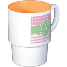 Pink Green Polka Dot Chevron Monogram Coffee Cups on CafePress.com