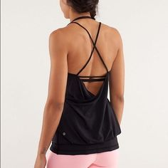 Lululemon Flow & Go Tank Black tank with built in bra and awesome strappy back. In excellent condition - worn maybe twice. lululemon athletica Tops