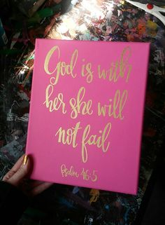 Bible Verse Canvas Painting - Canvas Sign - Girls Wall Art - Pink and Gold Decor - Bible Verse Sign - Canvas Painting - Home Decor - pinned by pin4etsy.com