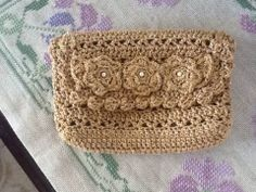 Crochet bag, my little one, golden clutch bag decorated with flowers and pearls