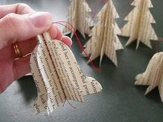 book page ornament - love the bells and trees <3 #Christmas #Holidays ~I can teach my girls to sew a straight line with this project and no material wasted.