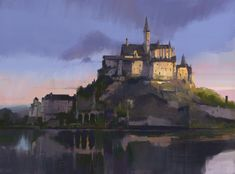 Trying out this topic, inspired by John Park and his crew! Fantasy City, Fantasy Castle, Fantasy Places, Medieval Fantasy, Fantasy World, Fantasy Landscape, Landscape Art, Dungeons And Dragons, Game Of Thrones Castles