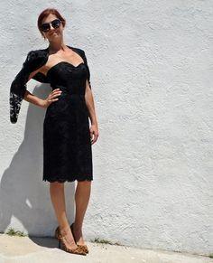 Vintage 80s Black Lace Dress and Bolero Set Open by tomacrafts