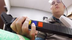 "Brain Implant Enables Quadriplegic Man to Play Guitar Hero With His Hands | Gizmodo | ""The system, called NeuroLife, is allowing Burkhart to make functional movements, such as picking up utensils, pouring the contents from a bottle, swiping a credit card—and even playing Guitar Hero. It was developed by researchers from the Battelle Memorial Institute, with a little help from Ohio State University's Wexner Medical Center."" Click to read and share the full article with video (3:37)."