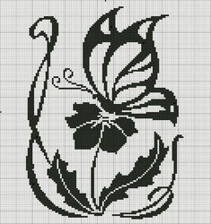 Flower and butterfly cross stitch Butterfly Cross Stitch, Crochet Butterfly, Cross Stitch Flowers, Beading Patterns, Embroidery Patterns, Crochet Patterns, Cross Stitching, Cross Stitch Embroidery, Cross Stitch Designs