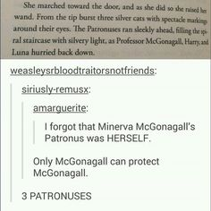Fact: all animagi have patronuses that match their animal form! Meaning Rita skeeter's patronus would have been a cockroach XD