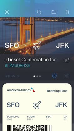 eTicket Boarding Pass by Rovane Durso . Nice App Interface . Appeal .