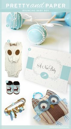 Robin egg blue tones paired with chocolate browns create a more sophisticated look in this inspiration board for a baby boy.