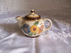 Vintage Honiton pottery one cup teapot 1920s Chris Collard floral             nd