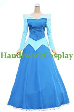 Aurora Blue Dress, Sleeping Beauty Princess Aurora Blue Version Cosplay Costume for Halloween Party Custom Any Size For adult,Kids,Plus Size...