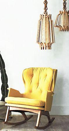= yellow rocker and pendants Yellow Interior, Hello Beautiful, Sunshine, Pendants, Interior Design, Chair, Baby, Collection, Furniture
