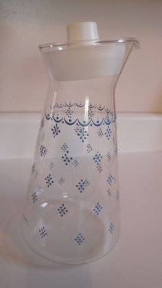 Vintage Pyrex Snowflake Carafe Blue Garland by CraftySara on Etsy, $28.00
