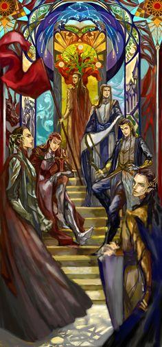 Fëanor, Maedhros, Celebrimbor, Fingolfin, Fingon and Gil-galad