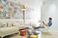 Apartamento HT en Vietnam, decorado con azulejos patchwork, por Landmak Architecture, y Lava, JSC.