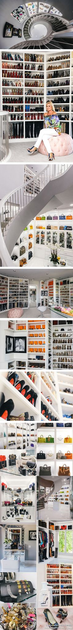 Time to redo your closet?Theresa Roemer's Fabulously Luxurious Closet - Pure Luxury Magazine - ShazB - Dream Homes Walk In Wardrobe, Walk In Closet, Shoe Closet, Wardrobe Design, Master Closet, Closet Bedroom, Dressing Room Closet, Dressing Rooms, Dressing Tables