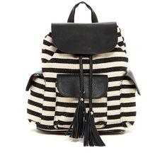 Poverty Flats By rian Stripe Canvas Drawstring Backpack ($55) ❤ liked on Polyvore featuring bags, backpacks, canvas rucksack, striped canvas backpack, detachable backpack, backpack bag and foldable backpack