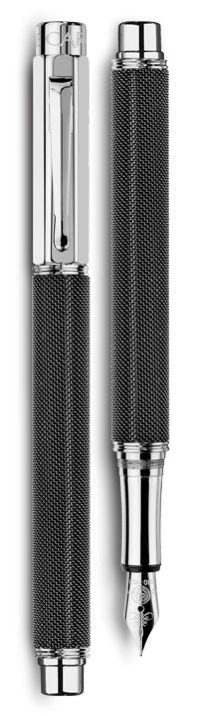 Caran d'Ache Ivanhoe - - - - - Silver-plated, rhodium-coated VARIUS IVANHOE BLACK fountain pen
