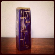 Art Deco Schmidt Brazil Cobalt & Gold Porcelain Vase.  on Etsy, $32.00