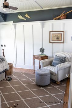Reading area with thrifted items in boys bedroom makeover reveal Boys Bedroom Decor, Bedroom Themes, Bedroom Ideas, Cottage Style Bedrooms, Modern Cottage, E Room, Small Space Design, Home Decor Inspiration, Decor Ideas